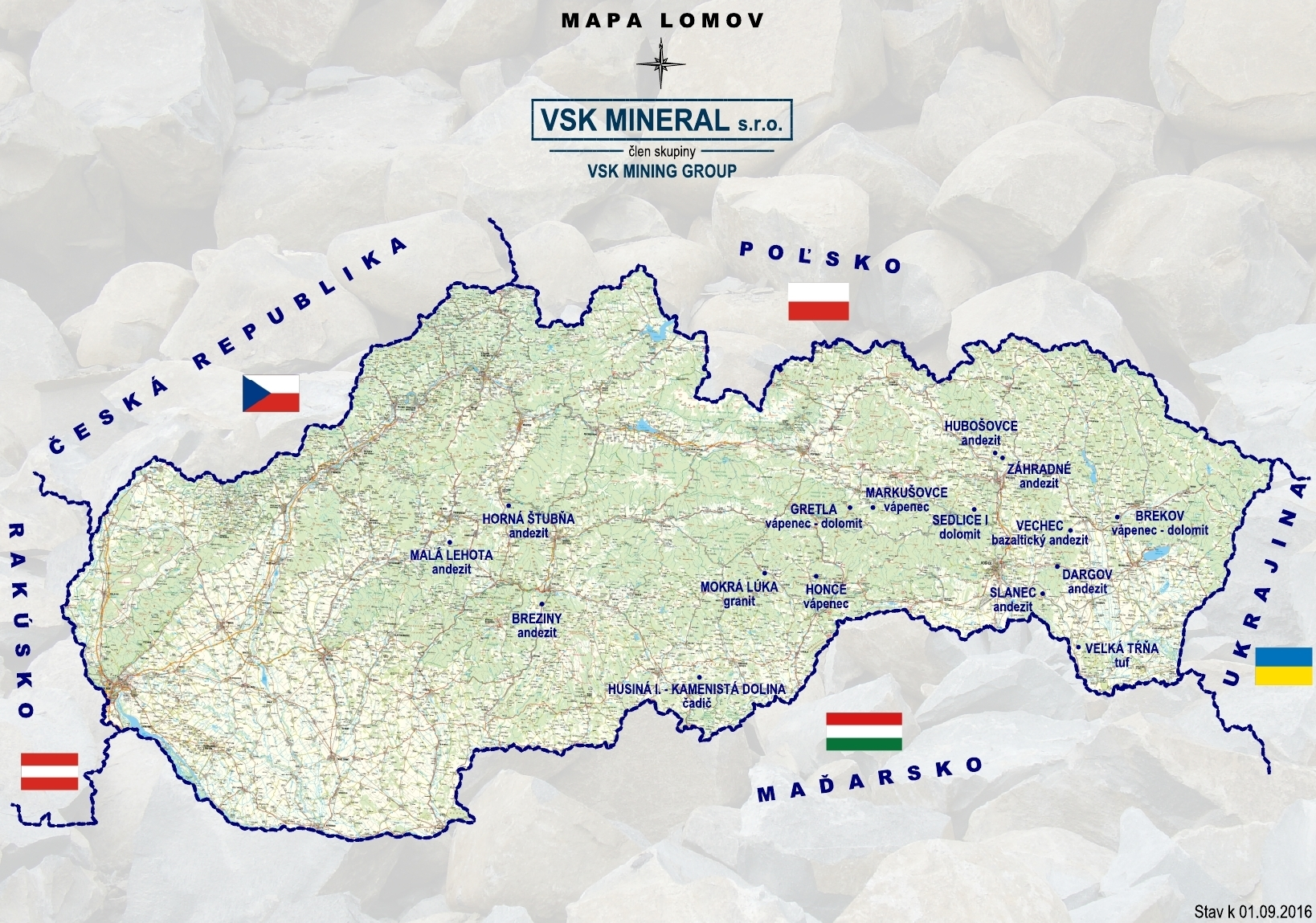 Mapa lomov VSK MINERAL s.r.o.
