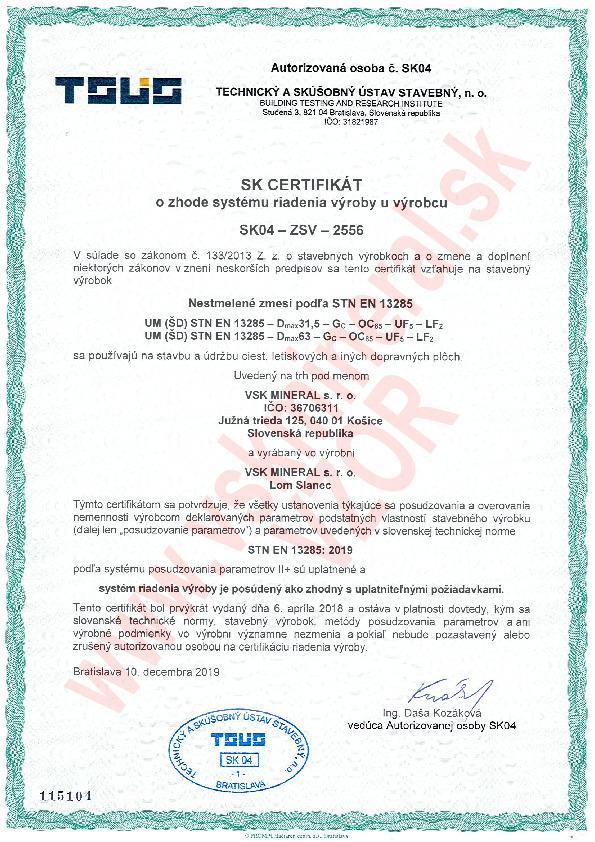 Certifikat - Nestmelene zmesi